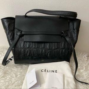 Céline Black Belt Bag Crocodile Embossed w leather